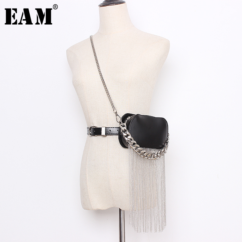 [EAM]  Pu Leather Black Min-bag Tassels Split Long Wide  Belt Personality Women New Fashion Tide All-match Spring 2020 1N938