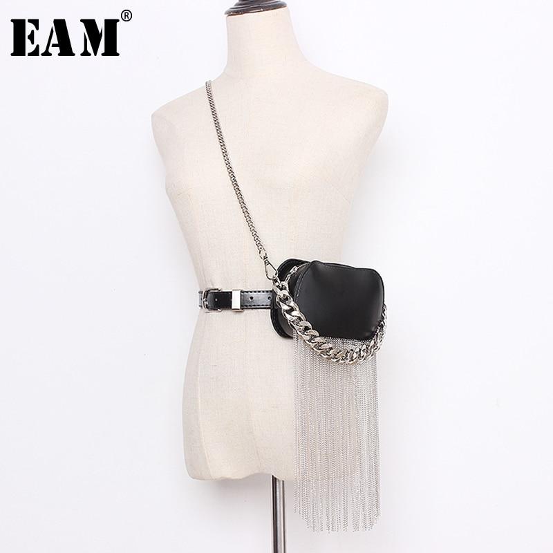 [EAM]  Pu Leather Black Min-bag Tassels Split Long Wide  Belt Personality Women New Fashion Tide All-match Spring 2020 1N938