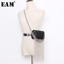[EAM]  Pu Leather Black Min bag Tassels Split Long Wide  Belt Personality Women New Fashion Tide All match Spring 2020 1N938
