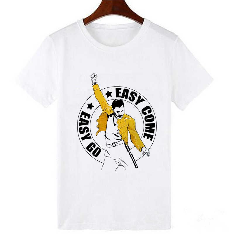 LUSLOS Freddie Mercury Queen Band T เสื้อผู้หญิง Harajuku Vintage เสื้อยืดแฟชั่น Queen Tshirt 90s Graphic Rock Top Tees หญิง