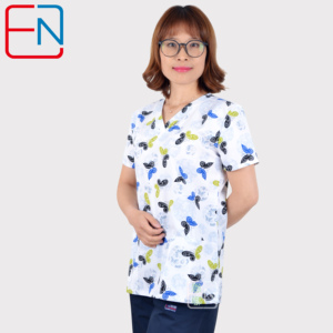 Image 3 - Hennar Lovely Print polyster scrub  Uniforms Women Breathable V Neck TC Nurse Nursing Uniform  Clinical Dental Scrub Top
