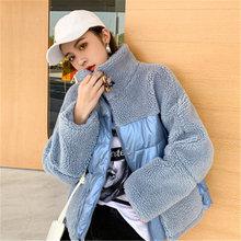 Женская куртка из овечьей шерсти зимняя модная Корейская Повседневная