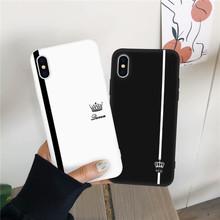 JAMULAR król królowa miłośników para etui dla iphone #8217 a X XS MAX X XR 11 Pro 7 8 6 6s Plus czarny biały silikon miękka obudowa telefonu Coque tanie tanio Cytaty i Wiadomości Matowy Aneks Skrzynki Soft Cases Odporna na brud Anti-knock Apple iphone ów Iphone 5 Iphone 6 Iphone 6 plus