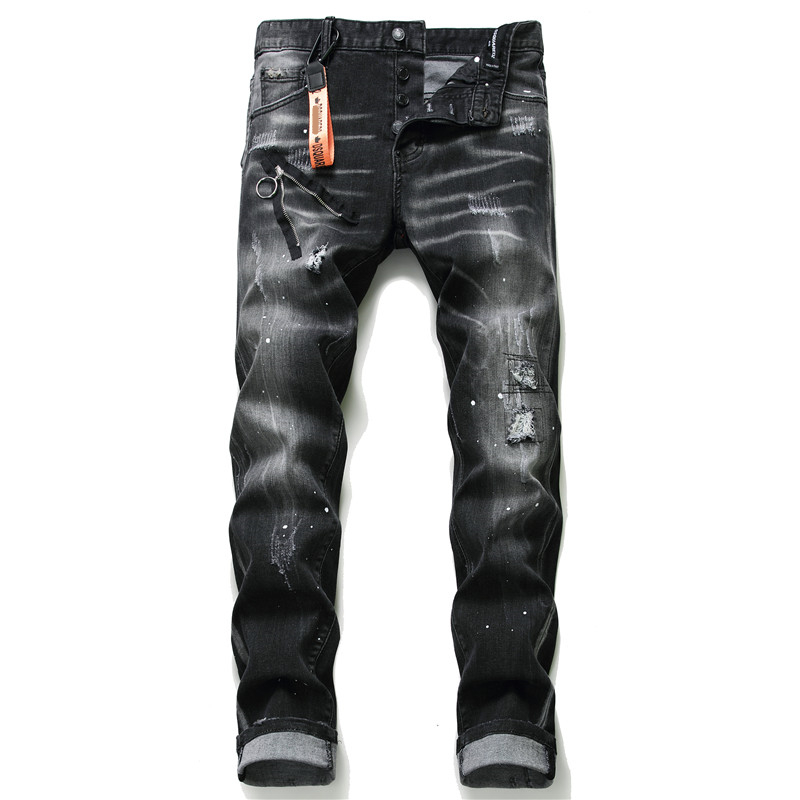 New skinny jeans men stretch printed torn ripped black jeans clothes 2020 streetwear Spring Summer pants men hip hop