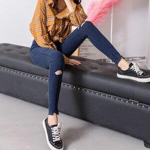 Image 4 - Leggings dames élastiques grande taille, faux jean déchiré, longueur cheville, genou avec trous, véritable poche, pantalon crayon, décontracté