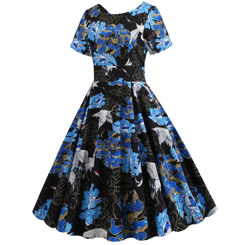 Summer Floral Print Elegant A-line Party Dress Women Slim White Short Sleeve Swing Pin up Vintage Dresses Plus Size Robe Femme 269
