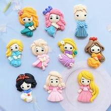 10 pçs resina cabochão kawaii princesa com várias características flatback scrapbooking artesanato enfeites diy arco de cabelo acces