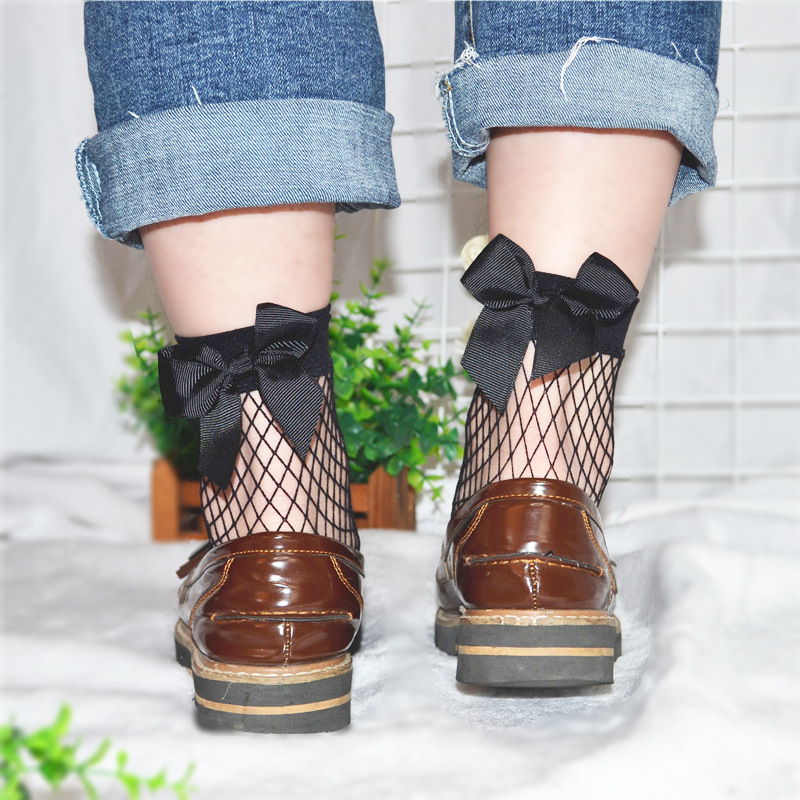 2020 Japanese Stockings Spring And Summer Thin Section Hollow Mesh Black Big Bow Mesh Stockings Wild Single Shoes Fishnet