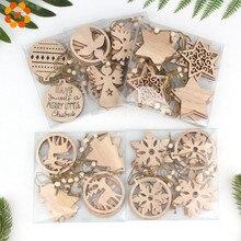 12 pièces/boîte Multi Vintage noël en bois pendentifs ornements décoration maison arbre de noël ornements suspendus enfants cadeaux fournitures