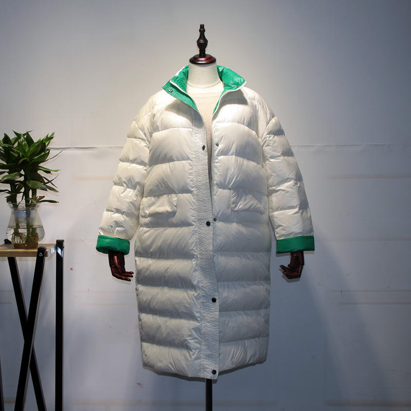 Down   Jackets Woman Long Fund Overknee Hit Color Easy Will Code Keep Warm Loose   Coat