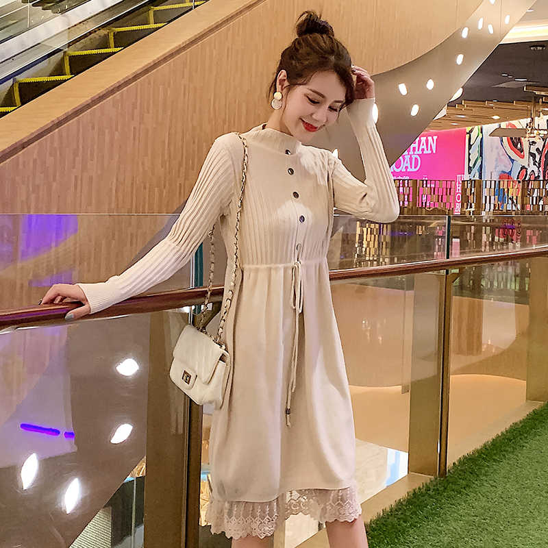 Spring Autumn Fashion Maternity Nursing Dress Patchwork Breastfeeding Clothes Soft Knitted Maternity Clothing For Pregnant Women