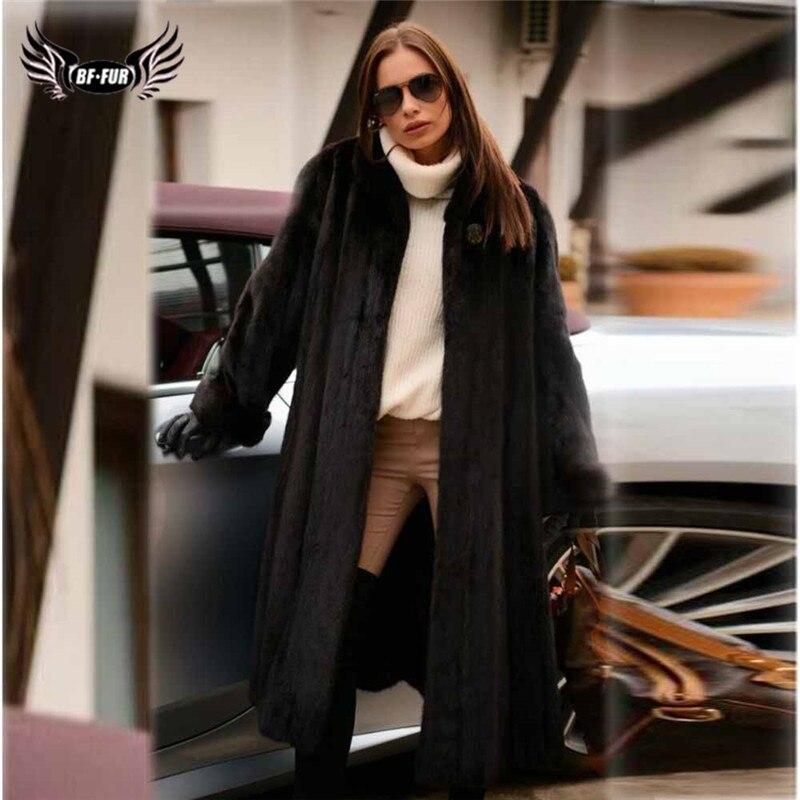 130cm Long Natural Women Mink Fur Coat Stand Collar Full Pelt Genuine Mink Fur Jacket 2019 Fashion Winter Fur Coats Real Luxury