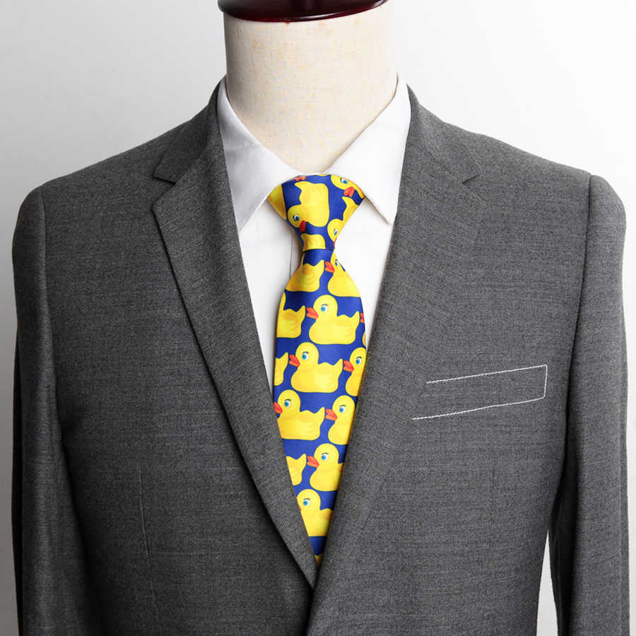 Corbata de pato de goma amarilla a la moda para hombres, pajarita de 8CM de ancho, corbatas casuales clásicas para fiesta, corbata de regalo para hombres