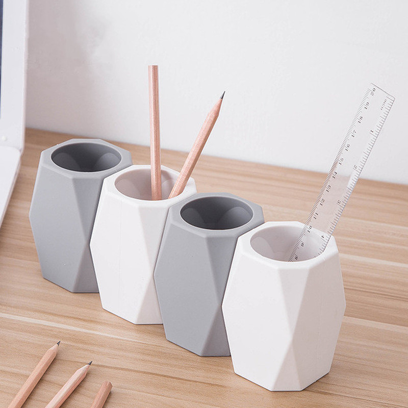1 Pc Geometric Silicone Pen Holder Pencil Stand Desktop Storage Case Box Desk Office Organizer Stationery Gifts For Students