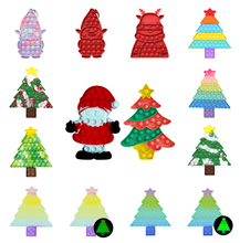 Christmas Tree Santa Claus Silicone Push Bubble Sensory Fidget Toy Reliever Stress Adult Children Kid Xmas New Year Gift Present