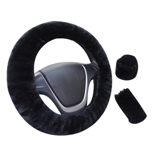 Image 4 - Car Steering Wheel Cover 16 colors Winter Universal Hand Brake Gear Position Gear Three piece Fur Cover Car Interior Accessories
