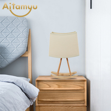 Wooden Table Lamp With Fabric Lampshade Wood Bedside Desk lights Modern Book Lamps E27 110V 220V Reading Lighting Fixture цена в Москве и Питере