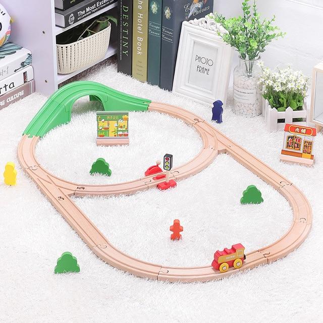 Детский набор игрушечного электрического поезда, магнитный игрушечный поезд с литыми отверстиями, деревянная железная дорога Bri o, трек для поезда, игрушки для детей, подарки