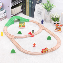Kids Electric Train Toys Set Magnetic Diecast Slot Train Toy FIT Wooden Railway Bri o Wooden Train Track Toys For Children Gifts