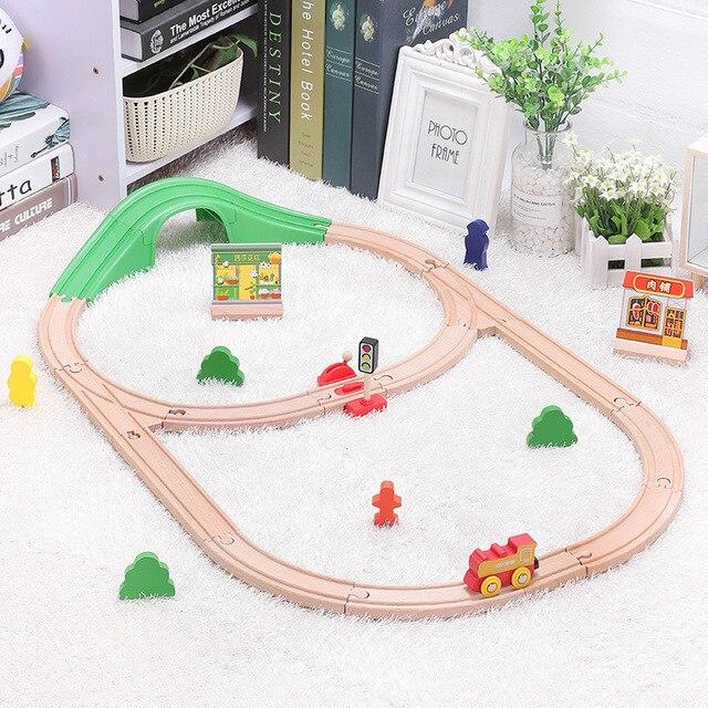 Kinder Elektrische Zug Spielzeug Set Magnetic Diecast Slot Zug Spielzeug FIT Holz Eisenbahn Bri o Holz Zug Track Spielzeug Für kinder Geschenke