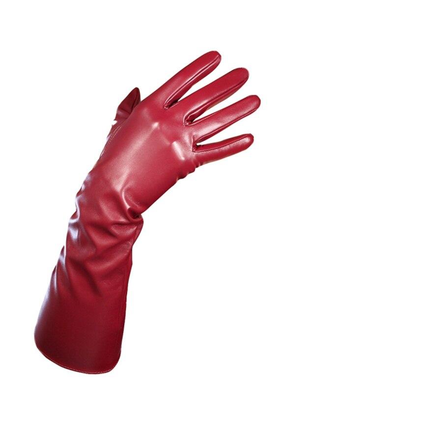 Short Leather Gloves 21cm Wrist Simulation Leather Imitation Leather Imitation Sheepskin PU Deep Wine Red Crimson PUSH21