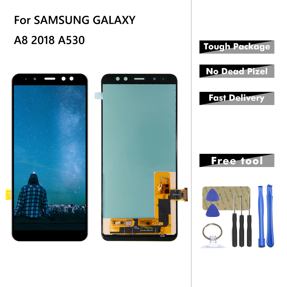 Original LCD For <font><b>Samsung</b></font> Galaxy A8 2018 A530 <font><b>A530F</b></font> A530DS A530N SM-A530N LCD Display Touch <font><b>Screen</b></font> Digitizer Assembly + Tools image