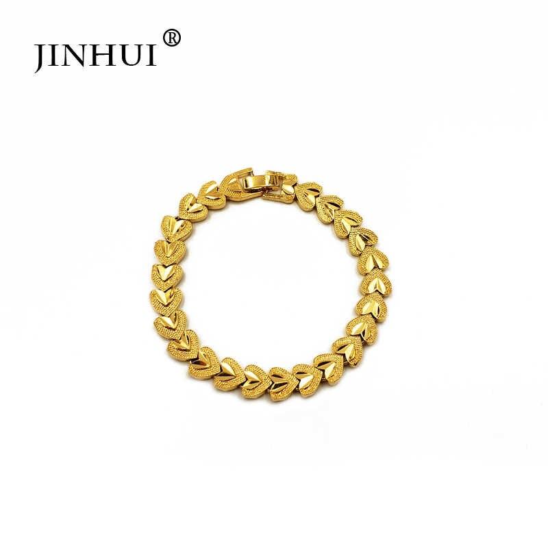 Jin Hui a la moda nueva pulsera de color dorado para hombre de estilo africano, regalo de lujo para fiesta, brazalete en forma de corazón de Dubai joyería