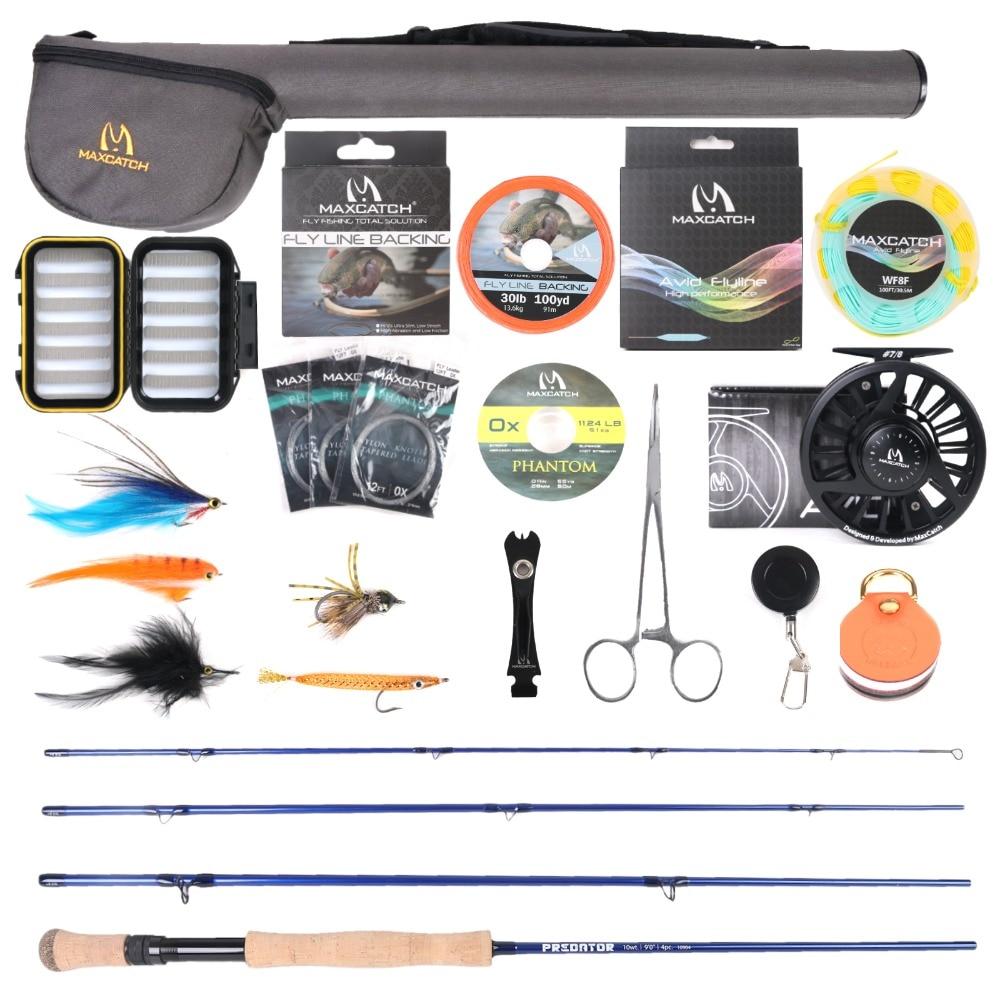Maximumcatch Saltwater Fly Fishing Full Kit 9ft 8 12wt Fly Fishing Rod CNC machined Aluminum Fly Reel|Rod Combo| |  - title=