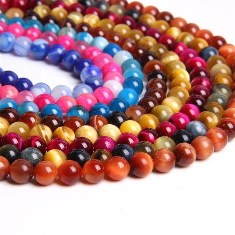 Wholesale Lots Natural Round Brown Tiger Eye Gemstone loose Spacer Beads 4-12mm