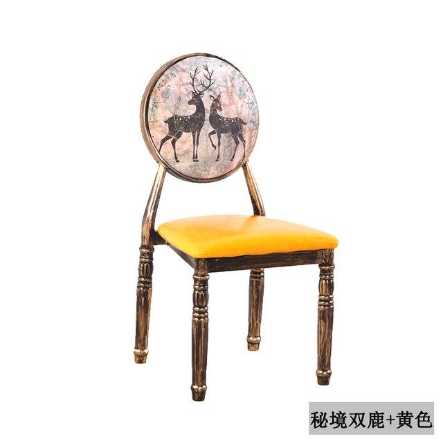 Nail Chair Retro Restaurant European Iron Dining Chair Creative Hotel Personality Makeup Chair Nail Stool Chair 2