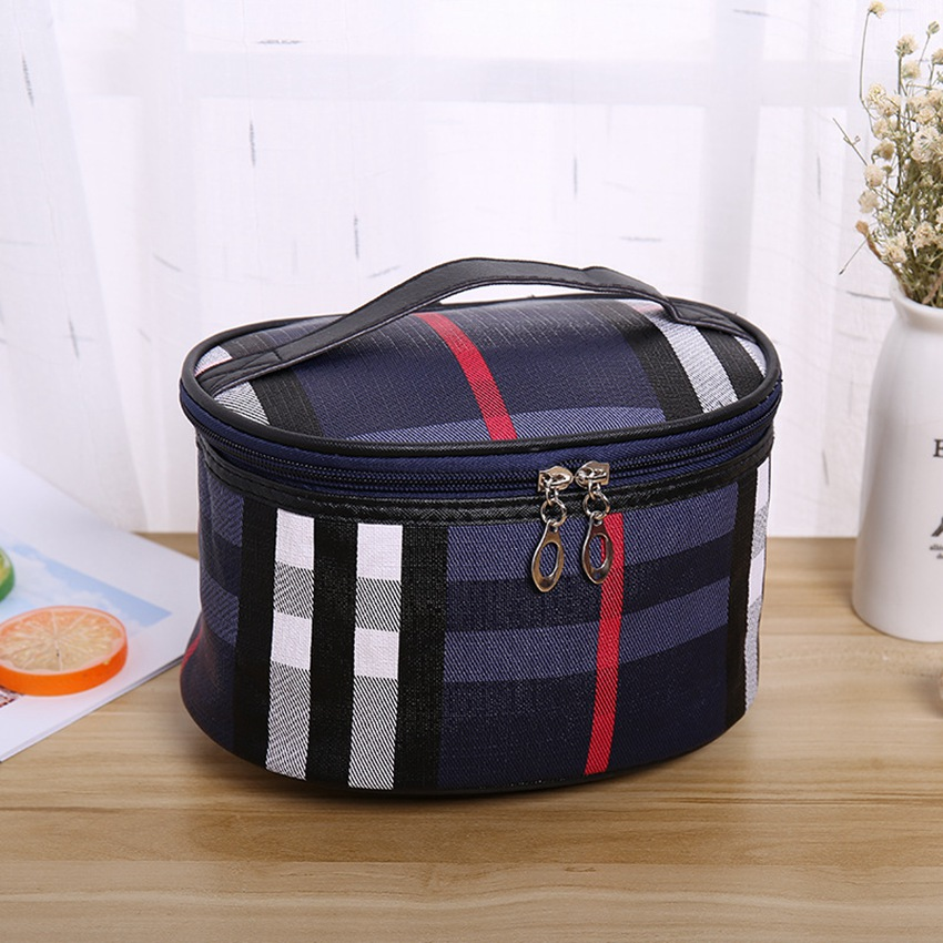 New Multifunctional PU Plaid Cosmetic Bag Travel Storage Make Up Bag Portable Wash Bag Fashion Cosmetic Case
