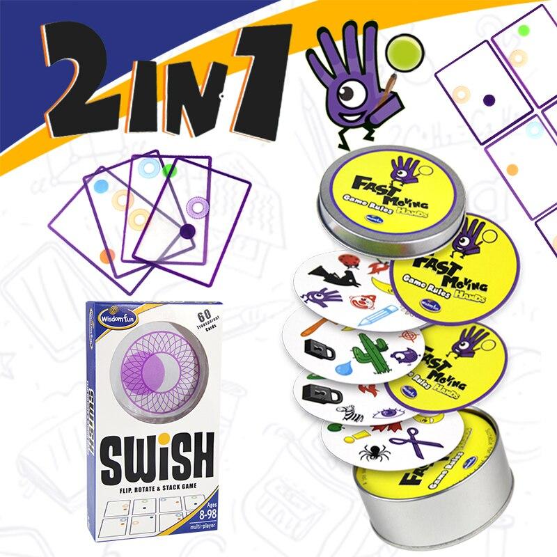 Jogo de lógica Swish-UM Divertido jogo de cartas jogos de lógica do ponto Transparente para as crianças jogando cartas jogos de tabuleiro brinquedos para crianças