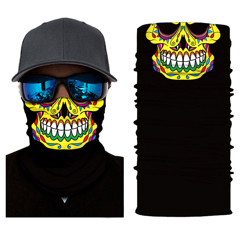 Hot Sale Halloween Face Shield Bandana Outdoor Ride Cycling Motorcycle Head Scarf Neck Warmer Skull Face Mask Ski Headband Mask