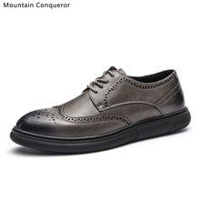 Mountain Conqueror High Quality Microfiber Men Flats Shoes Oxfords Trendy Classic Brogue Black/Grey Boots For Male