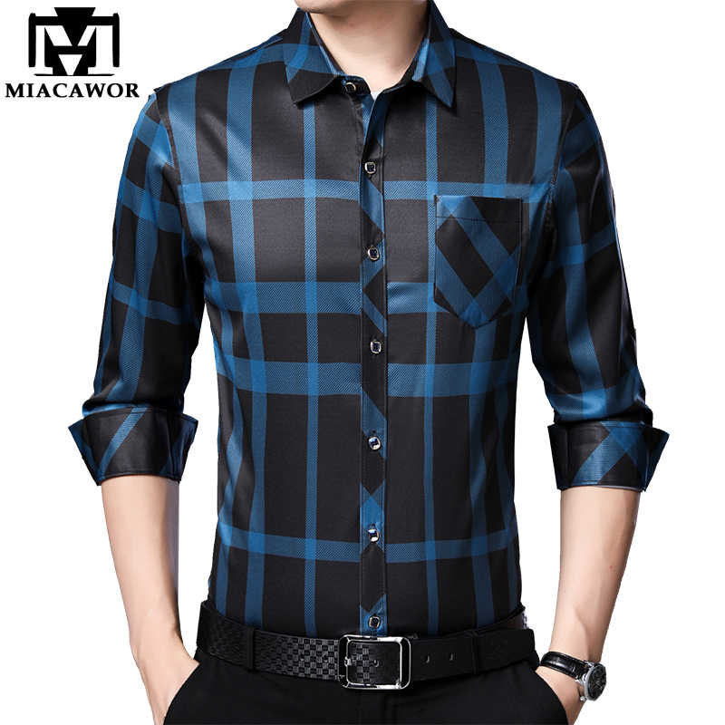 MIACAWOR Nieuwe Lente Lange Mouw Mannen Shirts Business Casual Plaid Shirts Slim Fit Camisa Masculina Merk Mannen Kleding C588