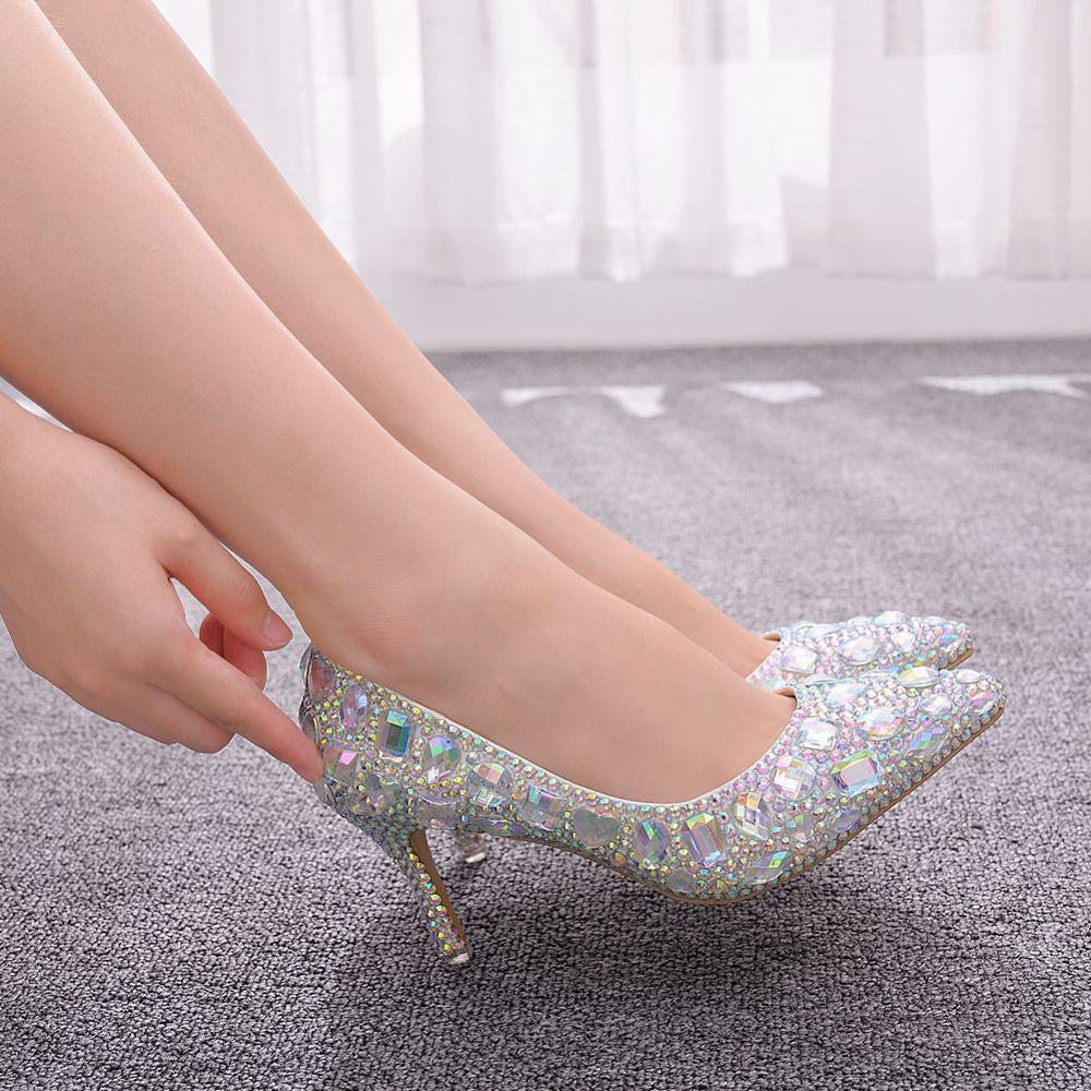 Crystal Queen Cinderella Women Heels Evening Party Glittering Custom Mutilcolor Rhinestone Wedding Pumps Big Size Crystal Shoes