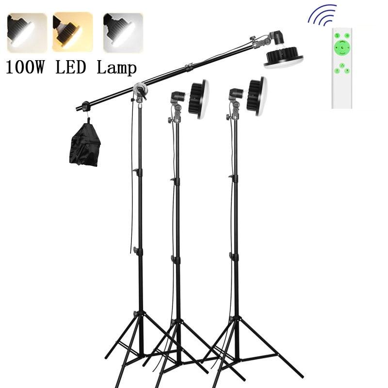 Photographie Photo en direct 3000 k-5500 K 220V 100W LED CRI90 lumière de remplissage support de lumière Photo trépied bras de flèche Kits d'éclairage continu