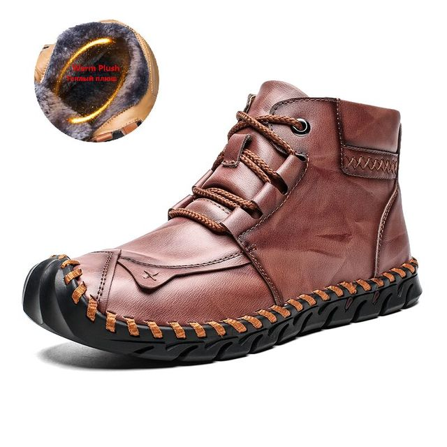 High Quality Leather Autumn Winter Men Boots Warm Plush Snow Boots Outdoor Fur Motorcycle Boots Ankle Boots Men's Shoes Size 48 1
