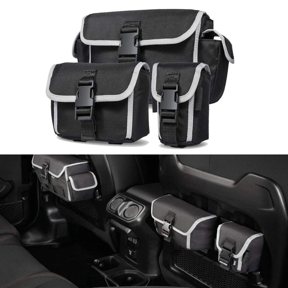 Para jeep wrangler jl rubicon organizadores de armazenamento do carro assento volta pacote porta bags acessórios interiores estiva tidying 3 pcs