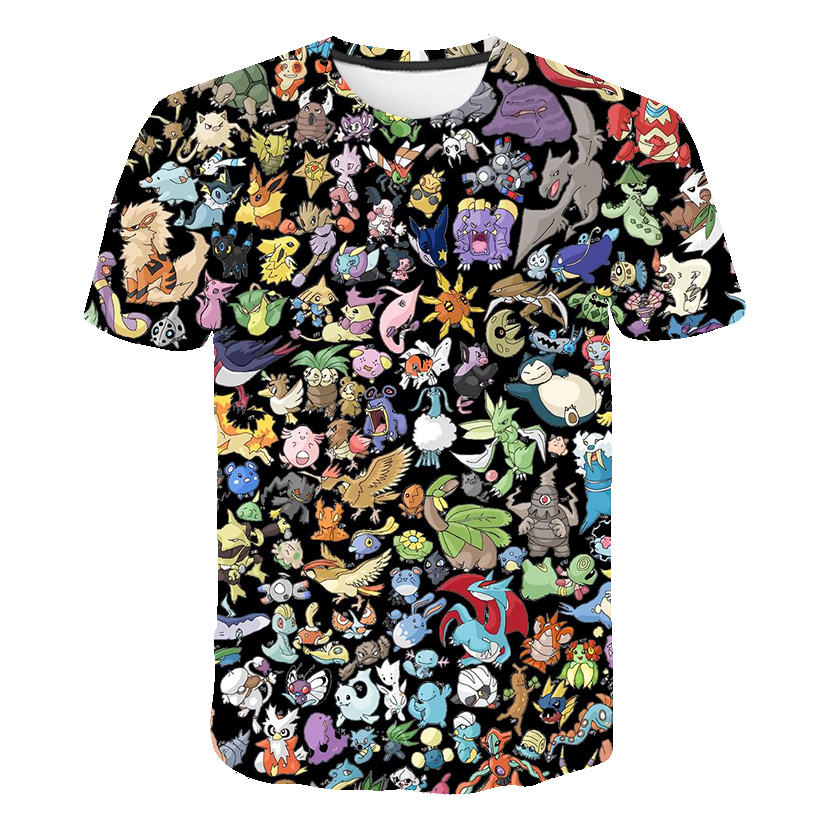 The New 3D baby Children Cartoon Pokemon t shirt Kids Boys Anime T Shirt O-Neck Clothes 2020 Summer Fashion casual Tops 1