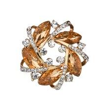 Gariton Luxurious Fashion Big crystal Zinc Alloy Rhinestone 2 color Garland Scarf Buckle Dual-use Clothing Female Accessories
