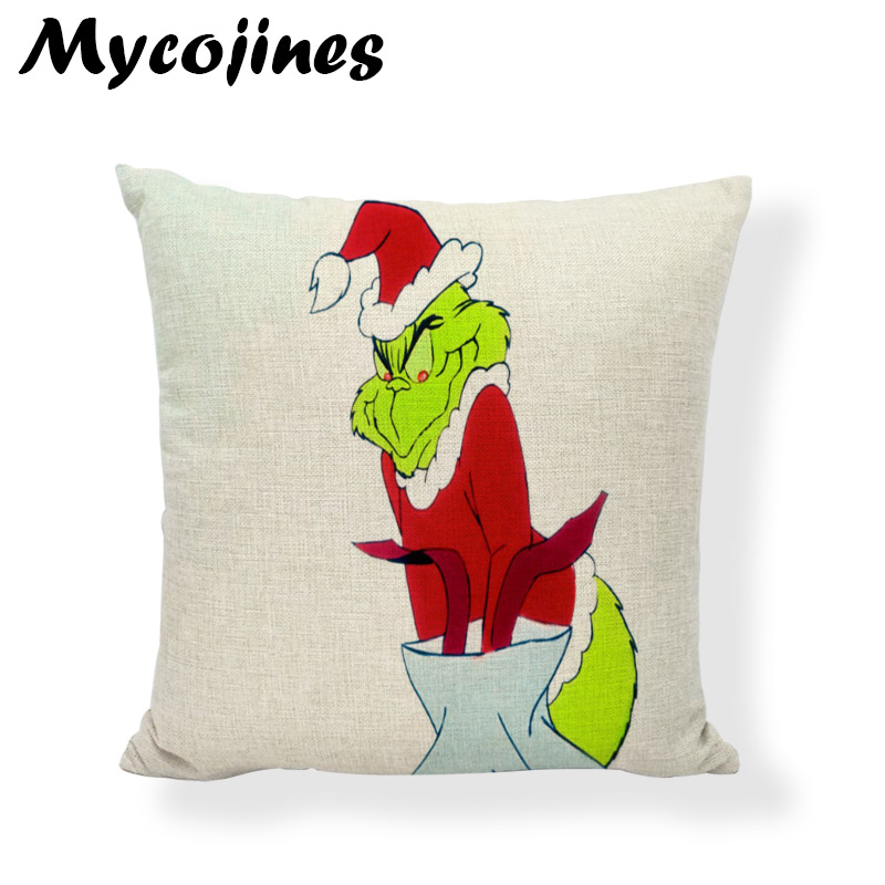 New Design Dr Seuss Christmas Pillowcase Tree Hat Dog Deer Living Room Sofa Bedroom Car Seat Decoration Cushion Cover 45 45CM in Cushion Cover from Home Garden