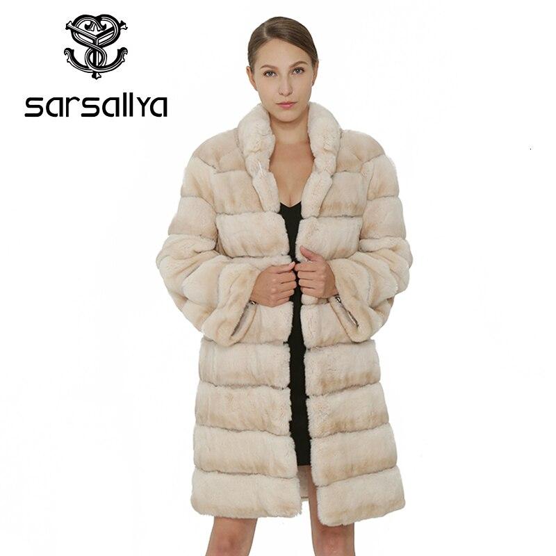 SARSALLYA Natural Rex Rabbit Fur Women Coat Fashion Winter Jacket  Real Fur Coat Vest Women Clothing  Female Outcoat