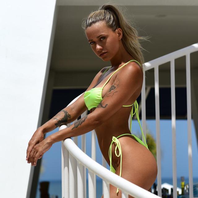 Brazilian Style Pleated String Bikini Swimsuit 5
