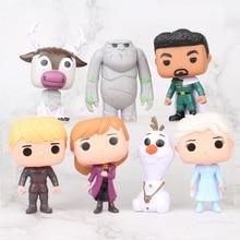 Funko POP Disney 7 ชิ้น/เซ็ต Frozen Snow Queen Elsa Anna Snow Man Olaf Kristoff ตัวเลขการกระทำคอลเลกชันรุ่นของเล่นสำหรับเด็ก