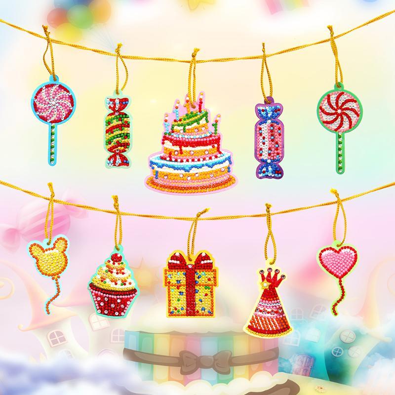 10 pçs pintura diamante pendurado pingente dia dos namorados decoração aniversário cartão decoração presente diy artesanato diamante bordado
