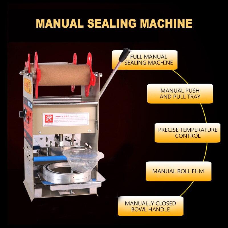 Scelleur manuel en plastique Machine de cachetage plateaux scellant d'emballage pour la nourriture à emporter emballage serrure frais boîte à déjeuner Machine de cachetage - 6