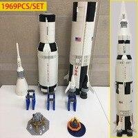 NEW creative series the Apollo Saturn V vehicle educational model blocks bricks fit 21309 Rocket Child toy birthday gift