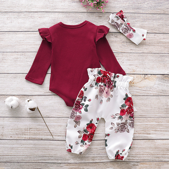 Pudcoco Newborn Baby Girl Clothes Knitting Cotton Long Sleeve Romper Tops Flower Print Long Pants Headband 3Pcs Outfits Clothes 2