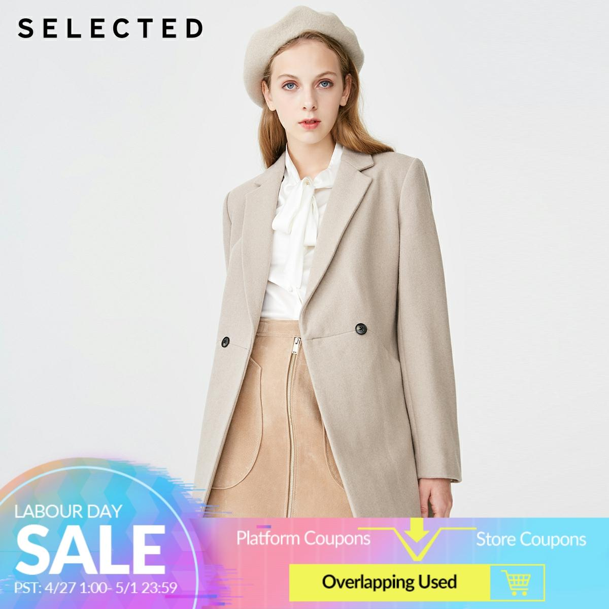 SELECTED Women's Mid-length Pure Color Woolen Overcoat SIG|419127506